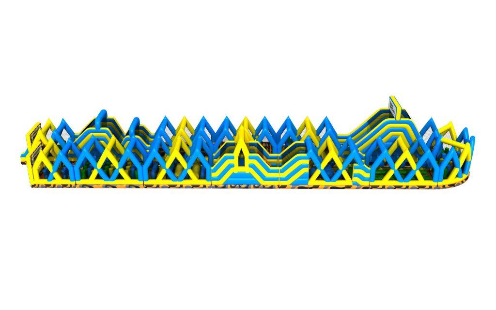 Uppblåsbar hinderbana megatrack 100 m från sidan