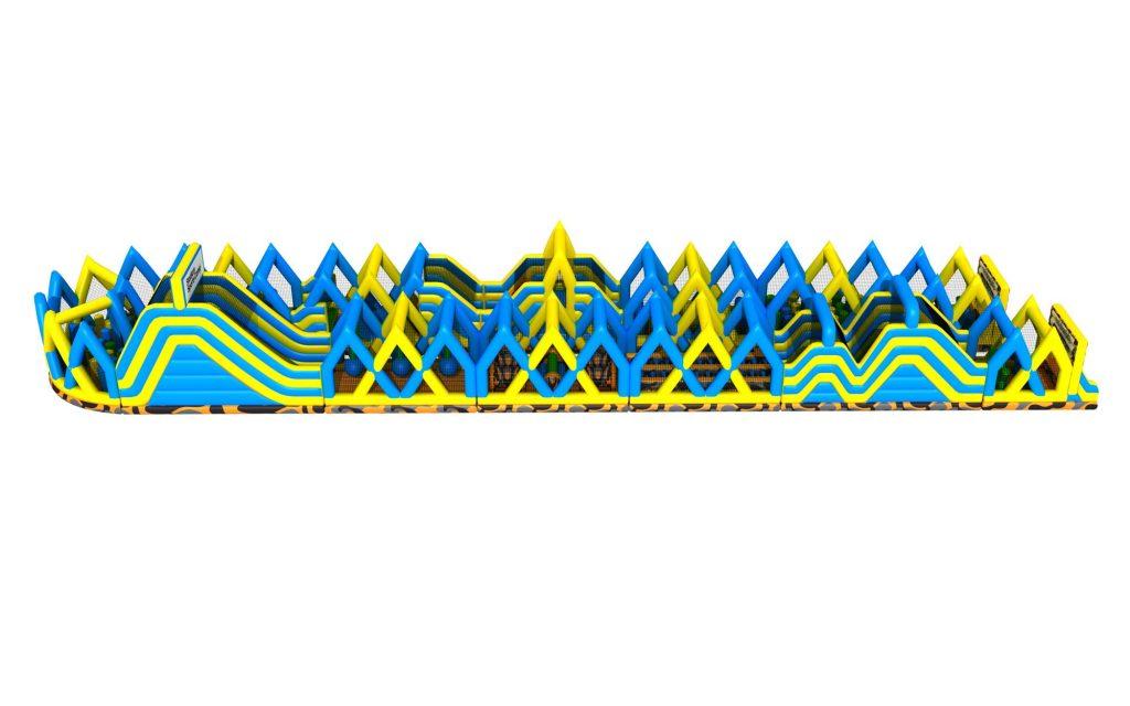 Uppblåsbar hinderbana megatrack från sidan ovanifrån